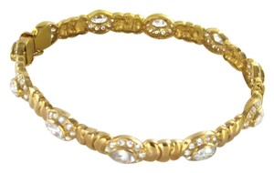 21K SOLID YELLOW GOLD BRACELET BANGLE WHITE STONES FANCY ESTATE 24.5 GRAM JEWEL