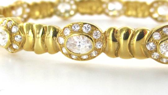 Other 21K SOLID YELLOW GOLD BRACELET BANGLE WHITE STONES FANCY ESTATE 24.5 GRAM JEWEL