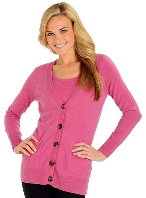 Preload https://img-static.tradesy.com/item/802139/pink-front-v-neck-front-pockets-cardigan-sweater-button-down-top-size-12-l-0-0-650-650.jpg