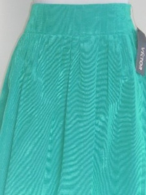 Victor Alfaro Pleated Emerald Skirt Green