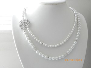 White Pearl Bridal Necklace Victorian Wedding Swarovski Jewelry White Pearl Bridal Necklacestatement Bridal Necklace