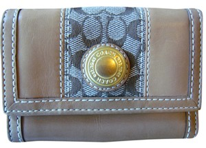 Coach Coach Tan Leather and Signature Small Wallet