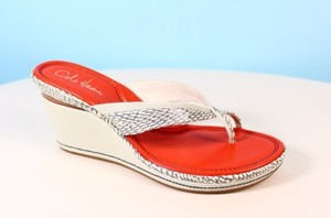 Cole Haan Cobra Embossed And Orange Sandals