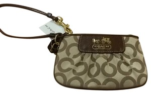 Coach Wristlet in Khaki/ Brown