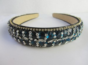 Sea Blue Glass Rhinestone Headband