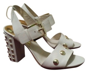 Michael Kors Studded Trendy Mk Leather Heel Buckle Chunky Summer Spring Fashion New Ankle Strap White Sandals