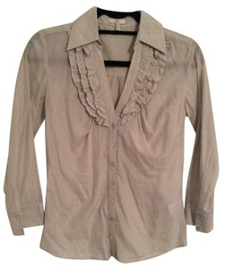 Joie Sheer Ruffle Button Down Shirt Gray