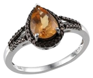 Genuine Citrine and Black Diamond Ring, 1.75cts