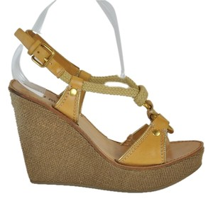 Miu Miu Premium Nude Leather Rope Contrast Stitching Gold Tone Studs Sandals beige Wedges