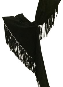 Jayskins Suede Fringe Fully Lined Leg Mid Rise Straight Pants Black