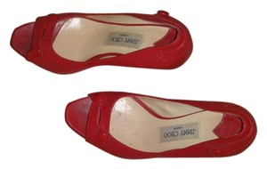 Jimmy Choo Leather Open Toe Red Pumps