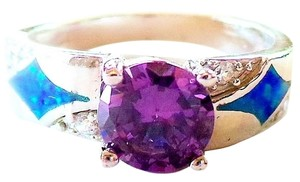 Amethyst, White Topaz & Opal 925 Sterling Silver Cocktail Ring Size 7