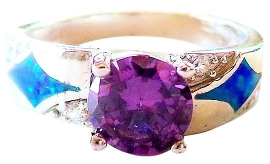 Other Amethyst, White Topaz & Opal 925 Sterling Silver Cocktail Ring Size 7