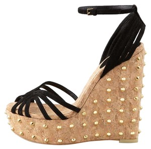 Gucci Suede Studded Wedge Black Wedges