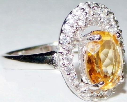 Other Natural Citrine & Topaz 925 Sterling Silver Ring Size 7.5