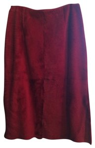 Anne Klein Shearling Pencil Midi Skirt burgundy