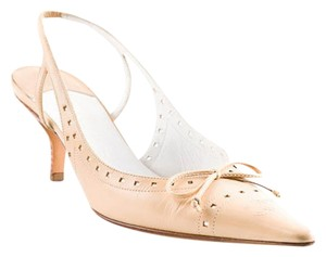 Chanel Pump Slingbacks Leather Beige Pumps