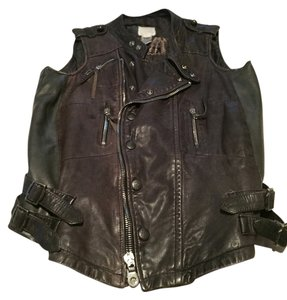 Diesel Leather Zippers Wide Coller Vest