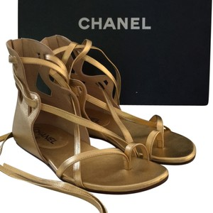 Chanel Gladiator Flats Comfortable Leather Gold Sandals