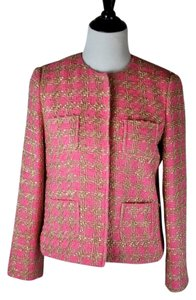RED Valentino And Gold Cropped Tweed Jacket Size 44 Pink Blazer