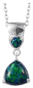 Black Opal (Lab Created) Pendant in Sterling Silver with Stainless Steel Chain, 0.65cts