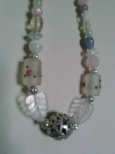 Handmade Romantic Pretty Pastels Boho Beaded with Crystal Leaves Necklace