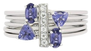 Genuine Bengal Iolite and White Topaz Set of 5 Stacker Rings, 0.84cts w/Certificate of Authenticity