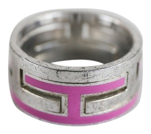 Hermès Hermes Silver Fuschia Arcane Puzzle Moveable H Ring