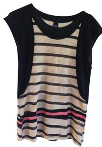 Custo Barcelona Designer Top Black with Gold and Neon Pink Stripes