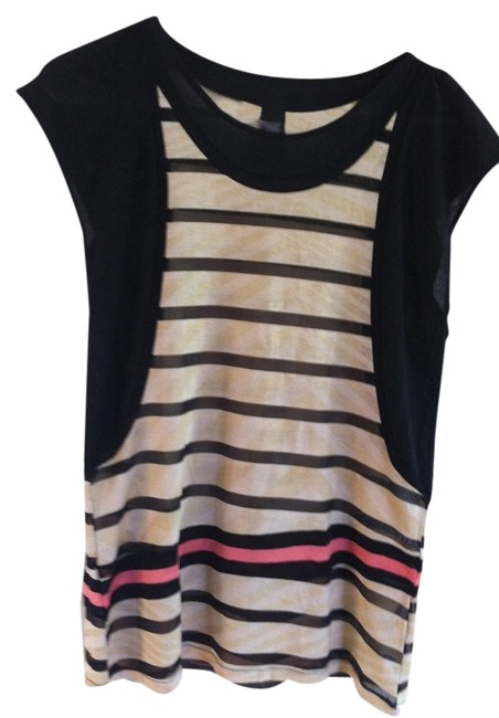 Custo Barcelona Designer Spanish New Top Black with Gold and Neon Pink Stripes