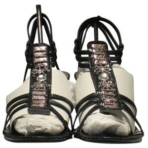 Rialto Great Holiday Heeled Black Faux Snakeskin Sandals
