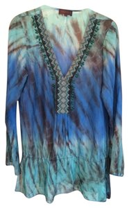 Hale Bob Silk Sheer Bead Detail Trim V-neck Drawstring Top Aqua Blue Black and Green Beading