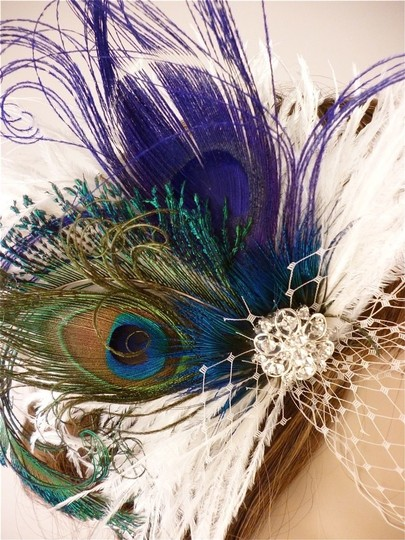 Other/Silver Feather Fascinator with Bandeau Veil Hair Accessory