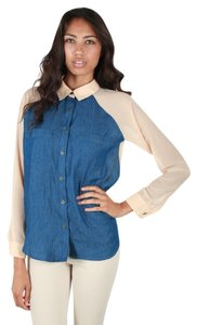 Romeo & Juliet Couture Top Denim and CHiffon