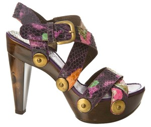 Stuart Weitzman Snakeskin Print Wooden Platform Snake Sz 6.5 Purple, and multi color Sandals