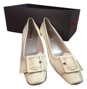 Prada Patent Leather Comfortable Italian Designer Low Heel White Pumps
