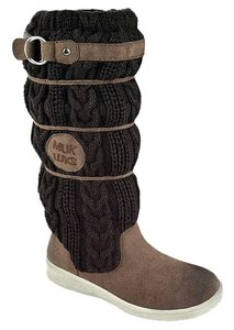 Muk Luks Comfort Faux Shearling Buckle Brown Boots