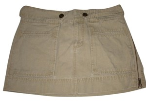 American Eagle Outfitters Coachella Denim Jeans Festival Mini Embroidered Mini Skirt tan