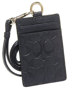 Coach Coach F63354 Signature Embossed Leather Lanyard ID Holder Midnight/Black