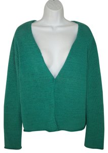 Eileen Fisher Green Knit Cotton Cardigan