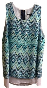 Zac & Rachel Geometric Zippered Sleeveless Layering Casual Summer Spring Colorful Zig-zag Pull-over Flowy Top Turquoise/Lime Green/White
