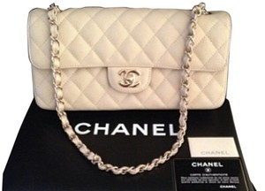 Chanel East West Caviar White Clutch