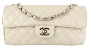Chanel East West Caviar Single Flap Classic Shoulder Bag