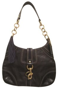 Coach Hamptons Leather Embossed Signature Hobo Bag