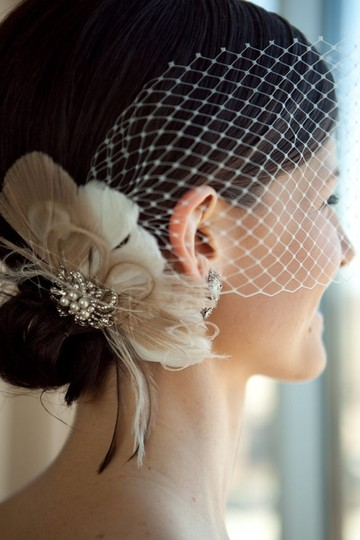 Preload https://img-static.tradesy.com/item/80352/ivory-short-feather-fascinator-with-brooch-and-bandeau-bridal-veil-0-0-540-540.jpg