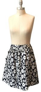 Tibi Flared Textured Brocade Mini Mini Skirt Navy Floral
