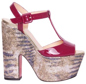 Christian Louboutin So Bella Glitter Animal Print T Strappy Gold, Pink Platforms