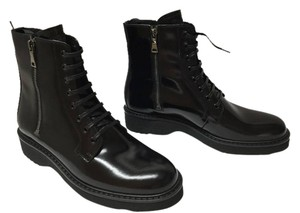 Prada Moto Patent Leather Lace Up Spazzolato Combat BLACK Boots