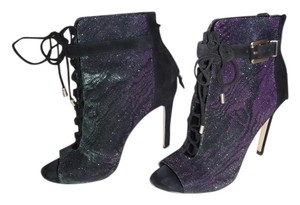 Brian Atwood Black/Green&Purple Iridescent Boots