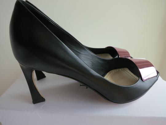 Dior Christian Metallic Leather Black/Pink Pumps